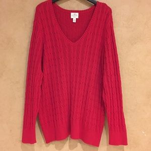 Women's red cable knit tunic sweater size 3X